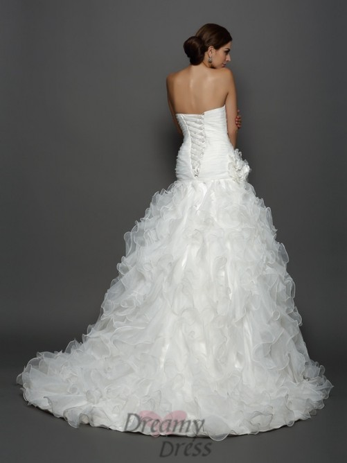 Ball Gown Strapless Organza Cathedral Train Wedding Dress