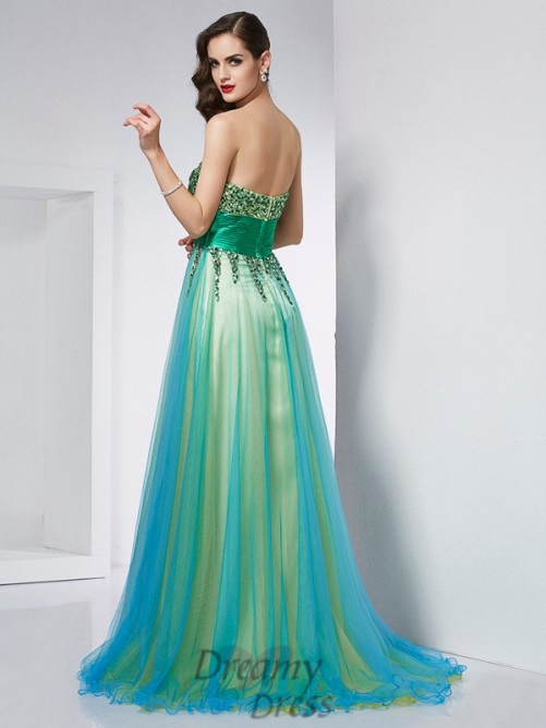 Ball Gown Sweetheart Elastic Woven Satin Sweep/Brush Train Dress