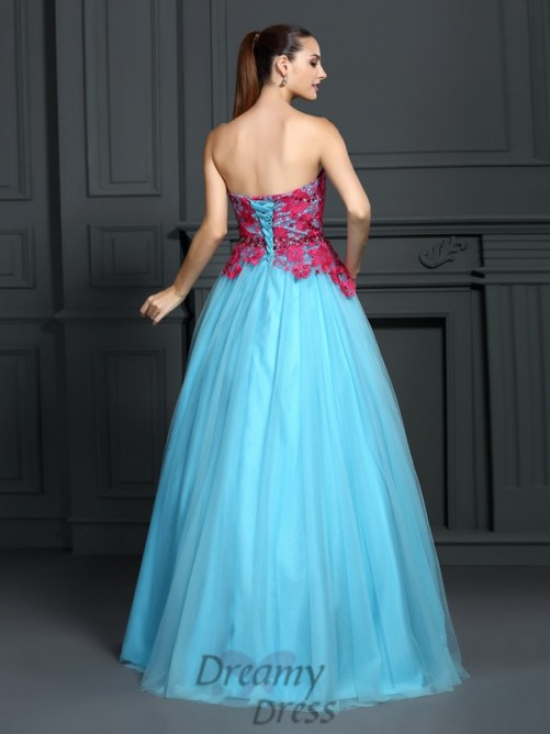 Ball Gown Sweetheart Lace Satin Long Dress
