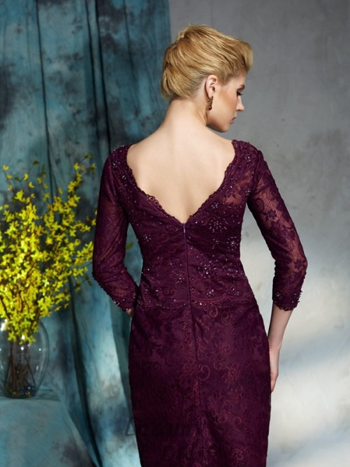 Bateau Lace Knee-Length Mother of the Bride Dress