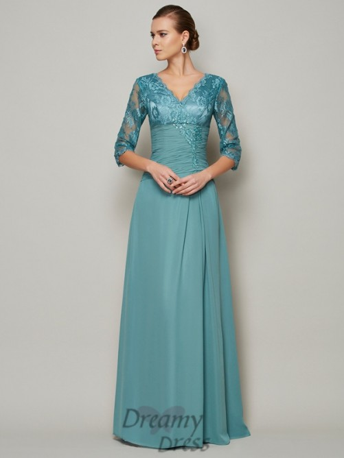 Chiffon High Neck 3/4 Sleeves Lace Mother Of the Bride Dress