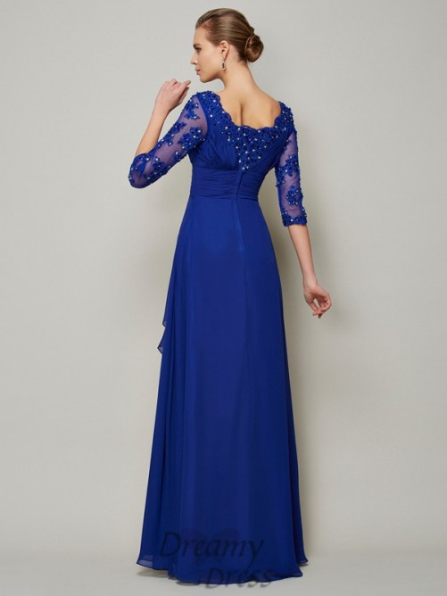 Chiffon Scoop 3/4 Sleeves Floor-Length Mother of the Bride Dress