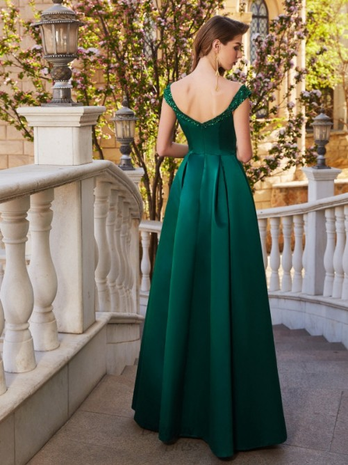 A-Line Off-the-Shoulder Satin Floor-Length Dress with Sequin