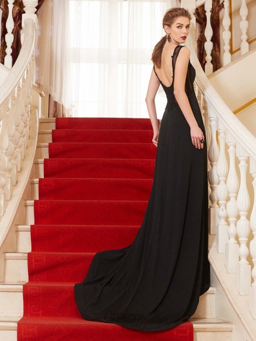 A-Line Scoop Spandex Sweep/Brush Train Dress with Beading