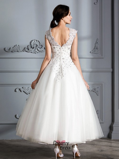 Ball Gown Scoop Tea-Length Tulle Wedding Dress