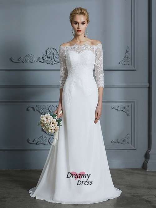 Trumpet/Mermaid Off-the-Shoulder Sweep/Brush Train Chiffon Wedding Dress