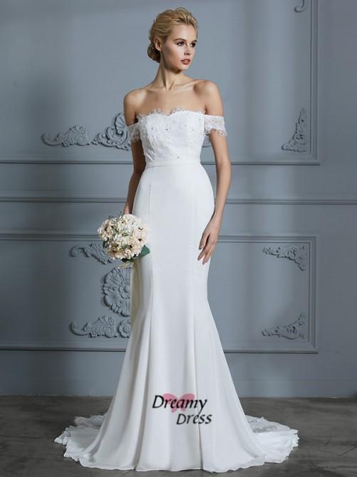Trumpet/Mermaid Off-the-Shoulder Chiffon Sweep/Brush Train Wedding Dress