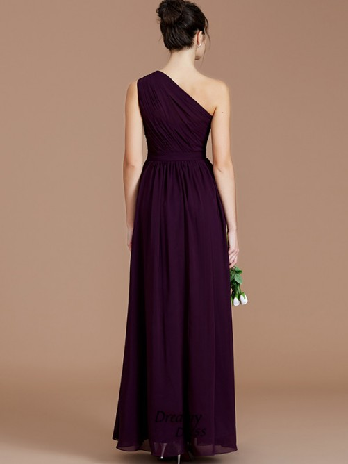 A-Line/Princess One-Shoulder Ruched Floor-Length Chiffon Bridesmaid Dress