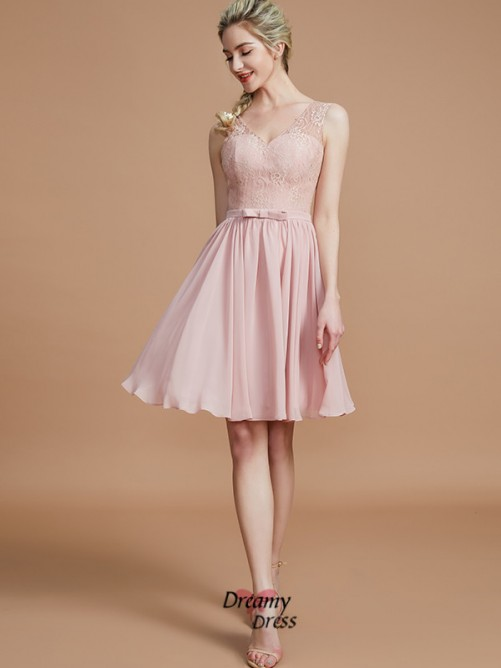 A-Line/Princess V-neck Lace Short/Mini Chiffon Bridesmaid Dress