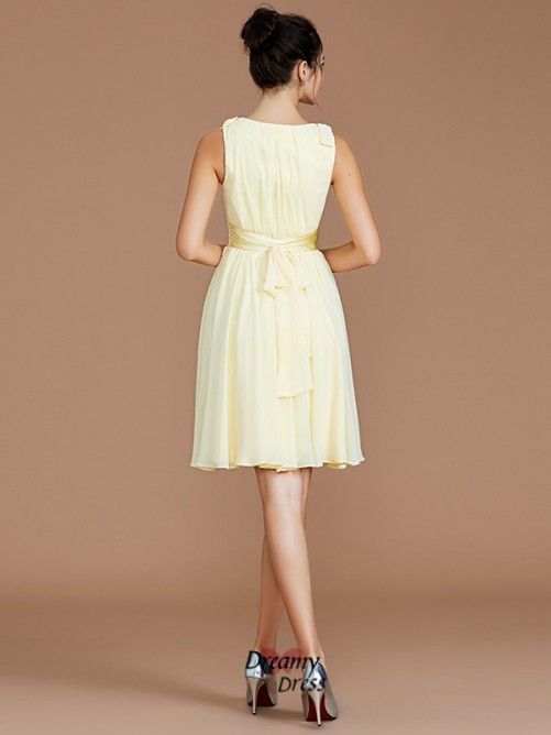 A-Line/Princess V-neck Sash/Ribbon/Belt Short/Mini Chiffon Bridesmaid Dress