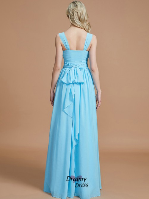 A-Line/Princess V-neck Chiffon Floor-Length Bridesmaid Dress