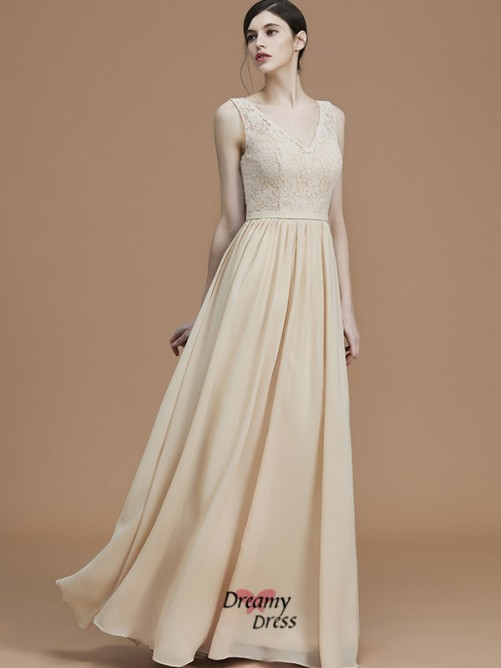 A-Line/Princess V-neck Floor-Length Ruffles Chiffon Bridesmaid Dress