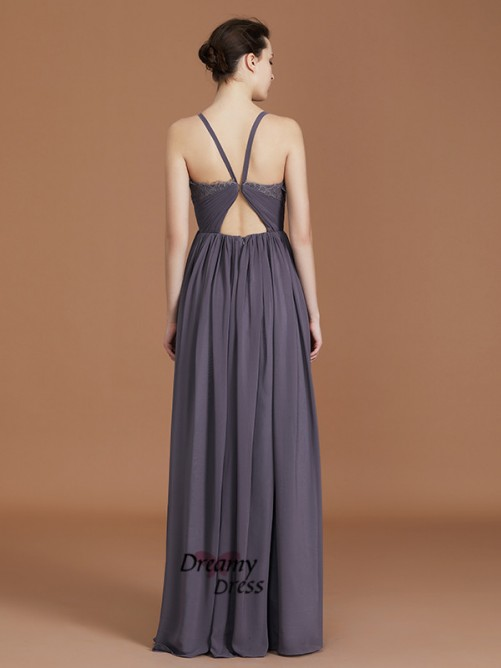 A-Line Spaghetti Straps Floor-Length Chiffon Bridesmaid Dress