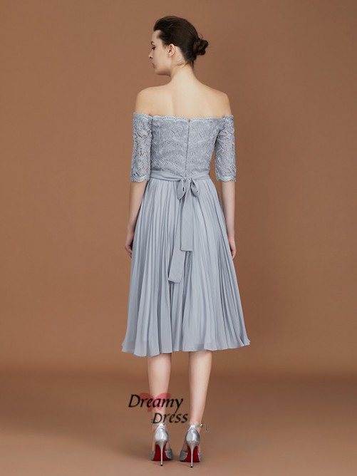 A-Line Off-the-Shoulder Tea-Length Chiffon Bridesmaid Dress