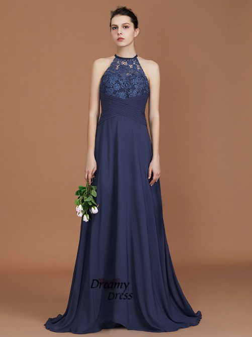A-Line Scoop Sweep Train Chiffon Bridesmaid Dress