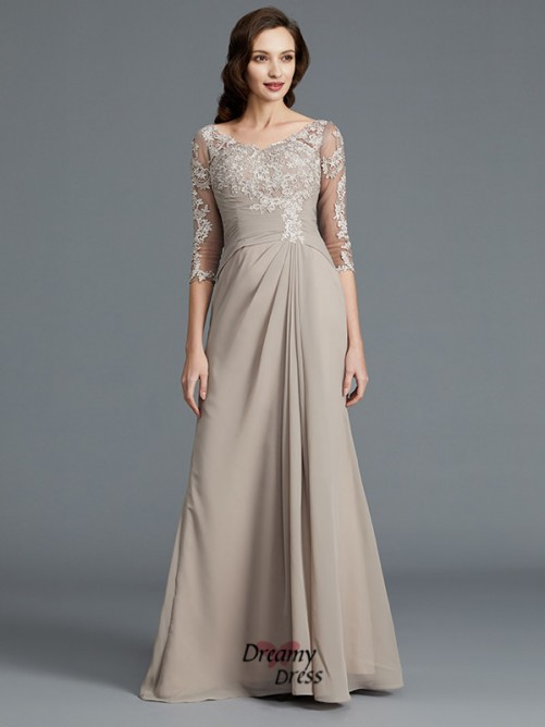 A-Line/Princess Scoop Applique Chiffon Floor-Length Mother of the Bride Dress