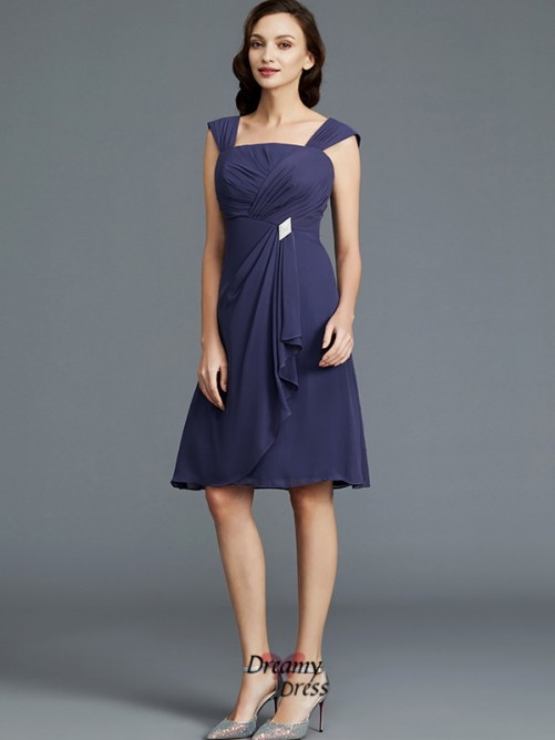 Sheath/Column Straps Chiffon Knee-Length Mother of the Bride Dress