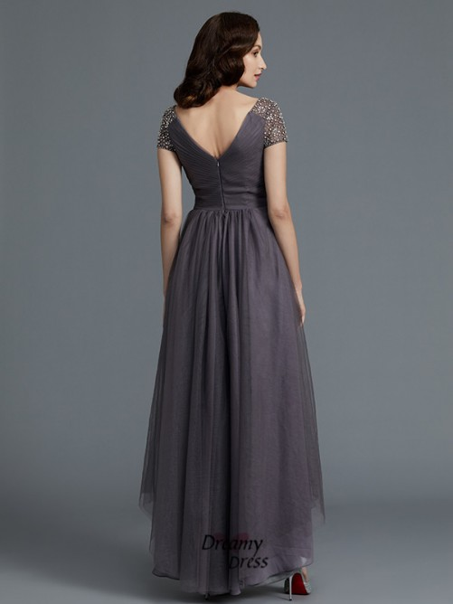 A-Line/Princess V-neck Asymmetrical Tulle Mother of the Bride Dress