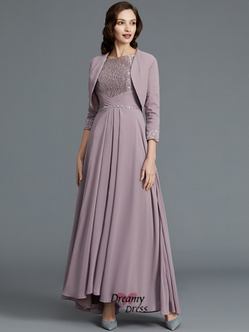 A-Line/Princess Scoop Asymmetrical Chiffon Mother of the Bride Dress