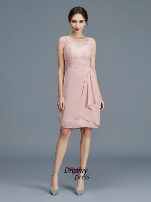 Sheath/Column Sheer Neck Chiffon Knee-Length Mother of the Bride Dress