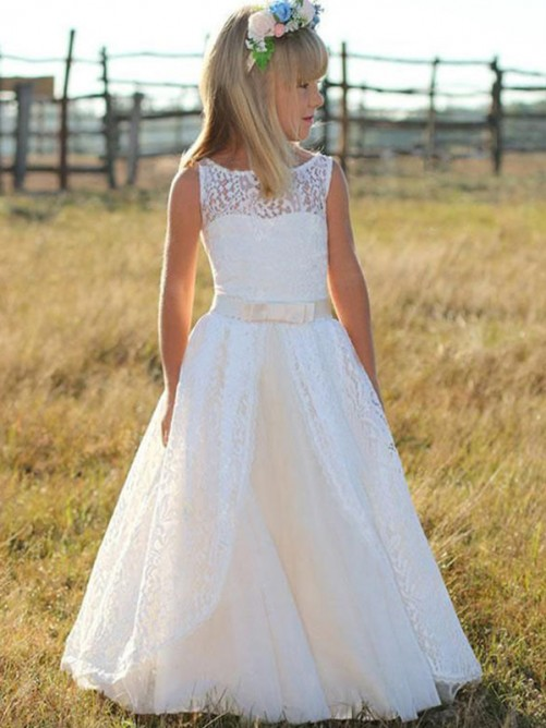 A-Line Scoop Floor-Length Lace Flower Girl Dress