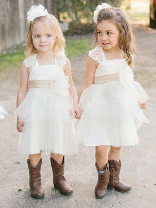 A-Line Square Knee-Length Tulle Flower Girl Dress