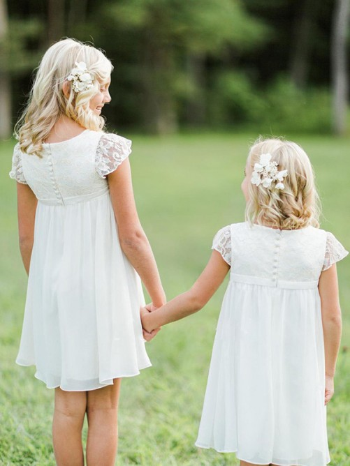 A-Line Short Sleeves Scoop Knee-Length Lace Chiffon Flower Girl Dress