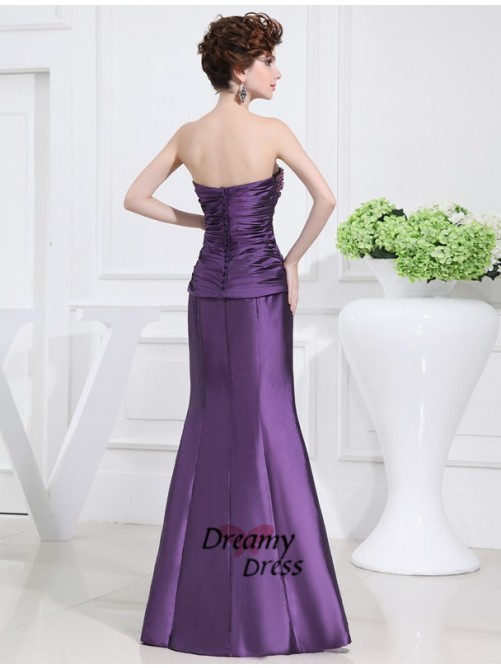 Mermaid Strapless Long Taffeta Mother of the Bride Dress