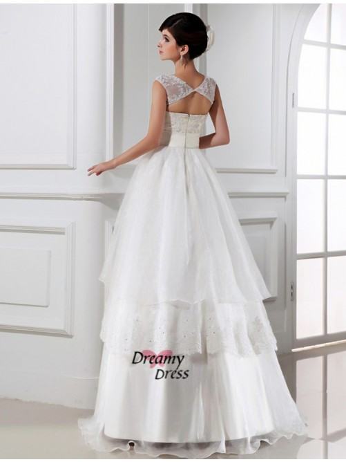 A-Line/Princess Floor-length Lace Organza Wedding Dress