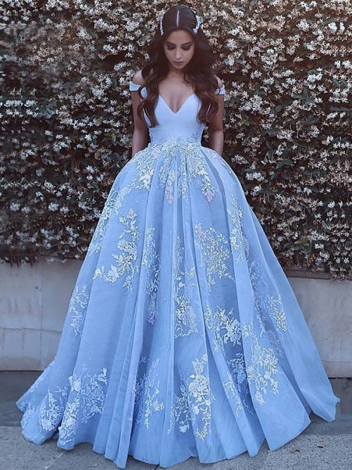 Ball Gown Off-the-Shoulder Tulle Sweep/Brush Train Dress