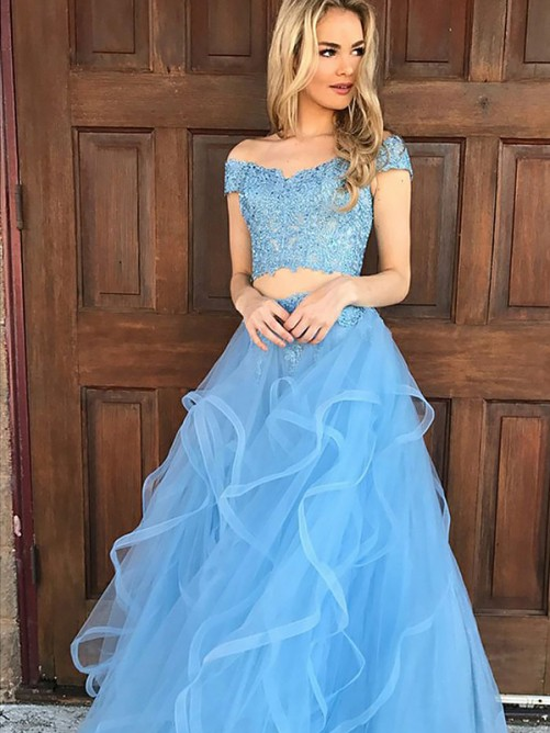 A-Line/Princess Off-the-Shoulder Tulle Floor-Length Two Piece Dress