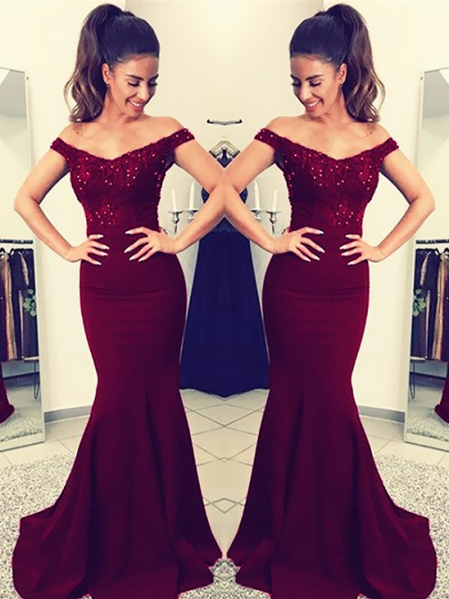 Trumpet/Mermaid Off-the-Shoulder Sweep/Brush Train Satin Dress