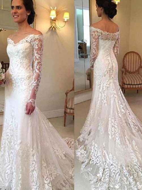 Mermaid Off-the-Shoulder Court Train Lace Wedding Dress
