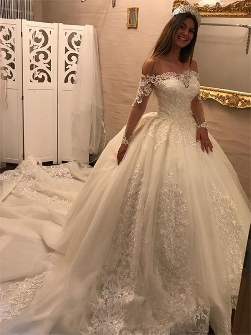 06a85068a4b Ball Gown Off-the-Shoulder Cathedral Train Tulle Wedding Dress