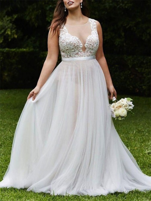 A-Line Scoop Court Train Lace Tulle Wedding Dress