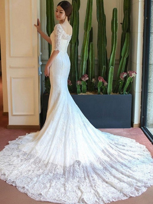 Mermaid Square Cathedral Train Lace Wedding Dress
