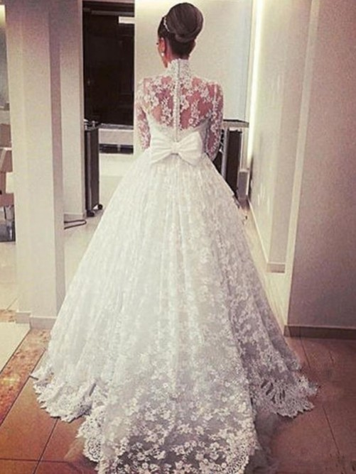Ball Gown High Neck Sweep/Brush Train Lace Wedding Dress