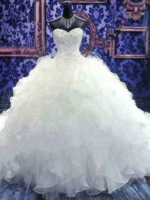 Ball Gown Sweetheart Chapel Train Sequin Organza Wedding Dress