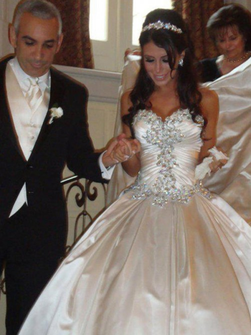 Ball Gown Taffeta Sweetheart Cathedral Train Wedding Dress