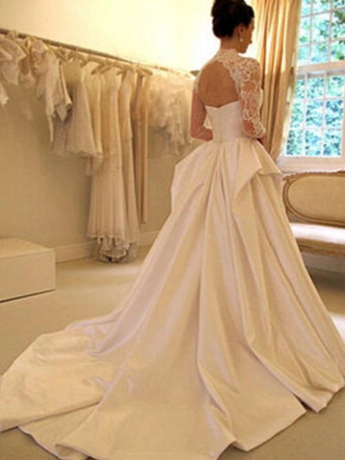 Ball Gown Satin Lace High Neck Chapel Train Wedding Dress