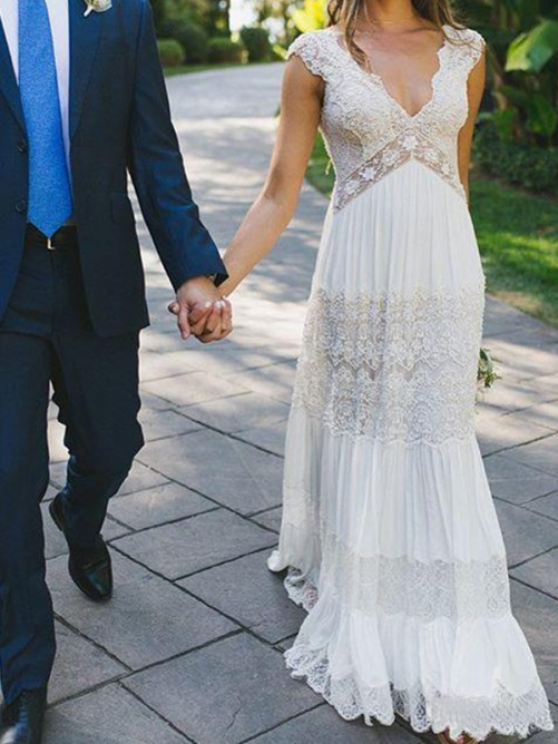 A-Line Lace V-neck Floor-Length Wedding Dress