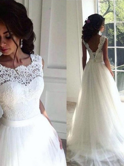 A-Line Lace Tulle Bateau Sweep/Brush Train Wedding Dress