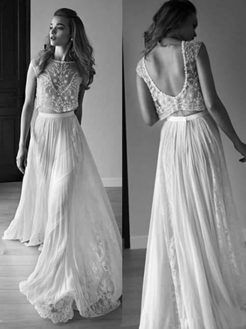 A-Line Scoop Tulle Sweep/Brush Train Wedding Dress