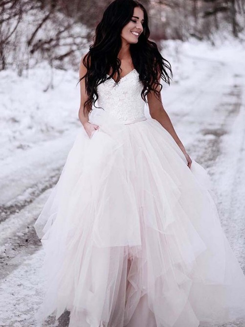 A-Line Tulle V-neck Floor-Length Wedding Dress