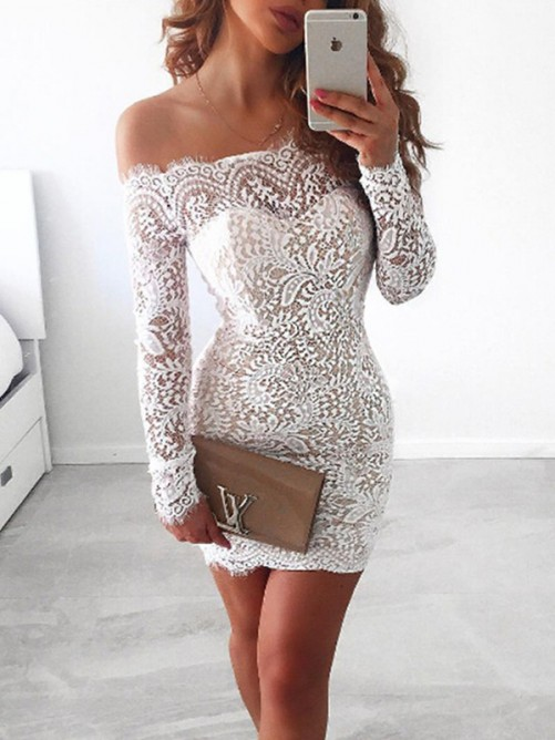 Sheath Off-the-Shoulder Lace Short Dress