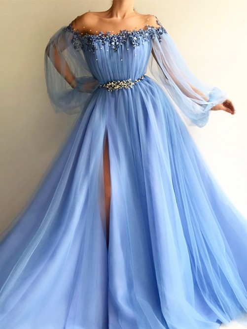 A-Line Long Sleeves Off-the-Shoulder Tulle Floor-Length Dress