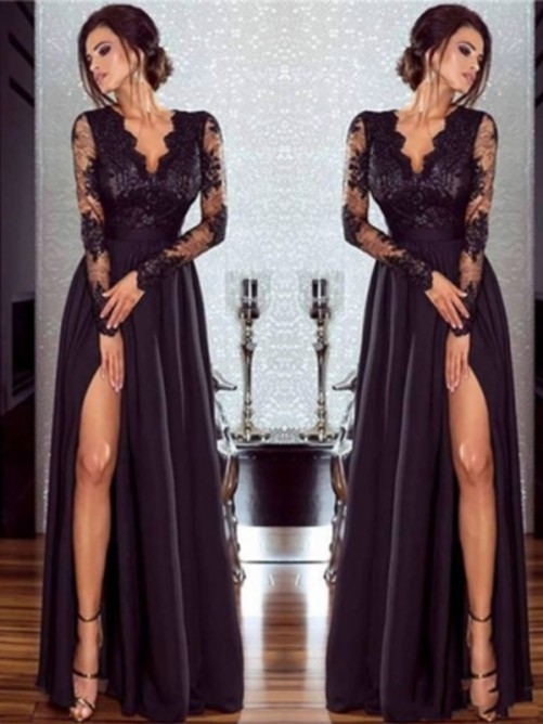 A-Line Long Sleeves V-neck Floor-Length Lace Chiffon Dress