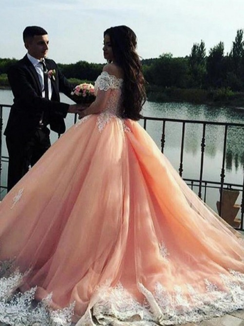 Ball Gown Off-the-Shoulder Court Train Tulle Lace Dress