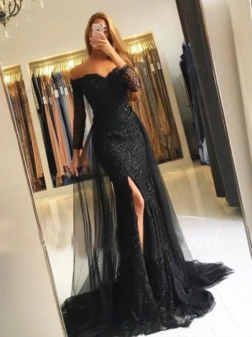 Mermaid Long Sleeves Off-the-Shoulder Sweep/Brush Train Tulle Lace Dress