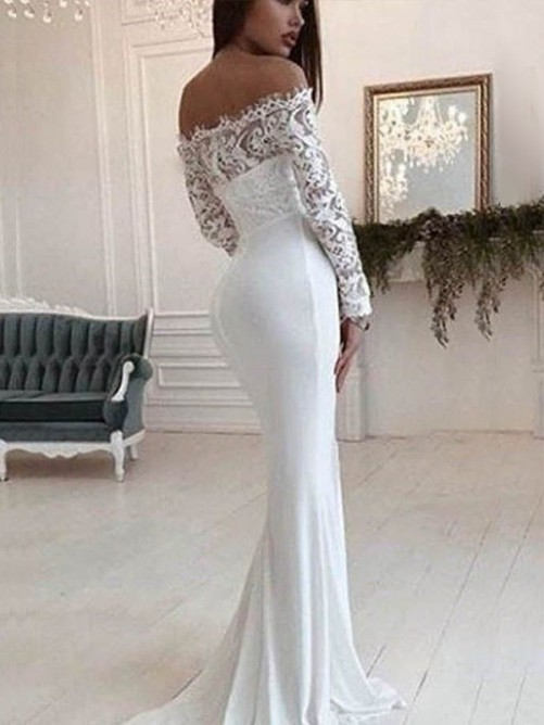 Mermaid Off-the-Shoulder Long Sleeves Court Train Lace Chiffon Wedding Dress